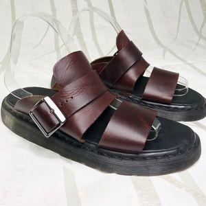 Dr. Martens Brelade Brown, Leather Slide Sandals